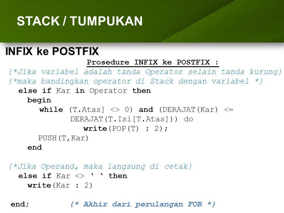 ARRAY (LARIK) STACK / TUMPUKAN Prosedure INFIX ke POSTFIX : {*Jika variabel adalah tanda Operator selain tanda kurung} {*maka bandingkan operator di S