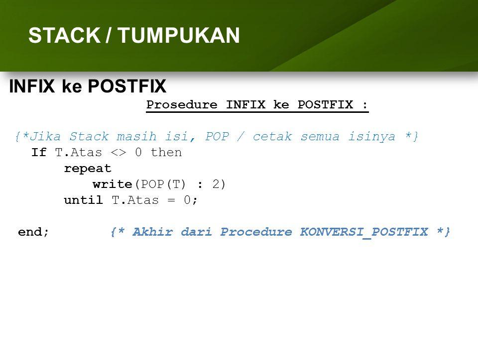 ARRAY (LARIK) STACK / TUMPUKAN Prosedure INFIX ke POSTFIX : {*Jika Stack masih isi, POP / cetak semua isinya *} If T.Atas <> 0 then repeat write(POP(T