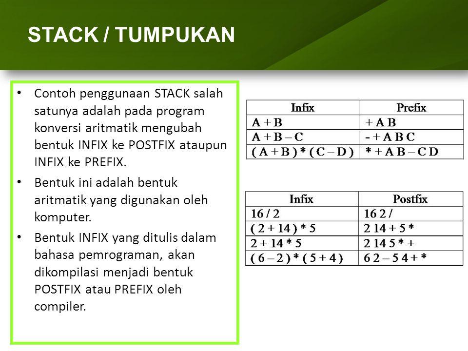 ARRAY (LARIK) STACK / TUMPUKAN Penentuan Derajat Nilai dari Operator : {* Fungsi untuk mengembalikan nilai derajat dari operator *} function DERAJAT(Tanda_Op : char) : integer; begin case Tanda_Op of '$' : DERAJAT := 3; {* Pangkat *} '*', '/' : DERAJAT := 2; {* Kali & Bagi *} '+', '-' : DERAJAT := 1; {* Tambah & Kurang *} '(' : DERAJAT := 0; {* Kurung Buka *} end end; INFIX ke POSTFIX