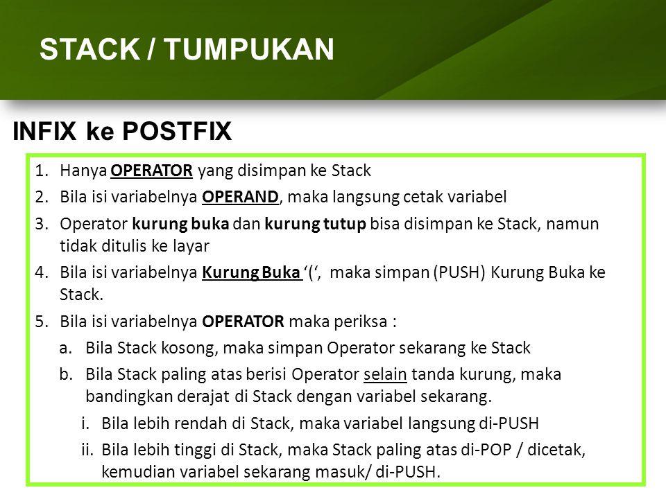 ARRAY (LARIK) STACK / TUMPUKAN 1.Hanya OPERATOR yang disimpan ke Stack 2.Bila isi variabelnya OPERAND, maka langsung cetak variabel 3.Operator kurung