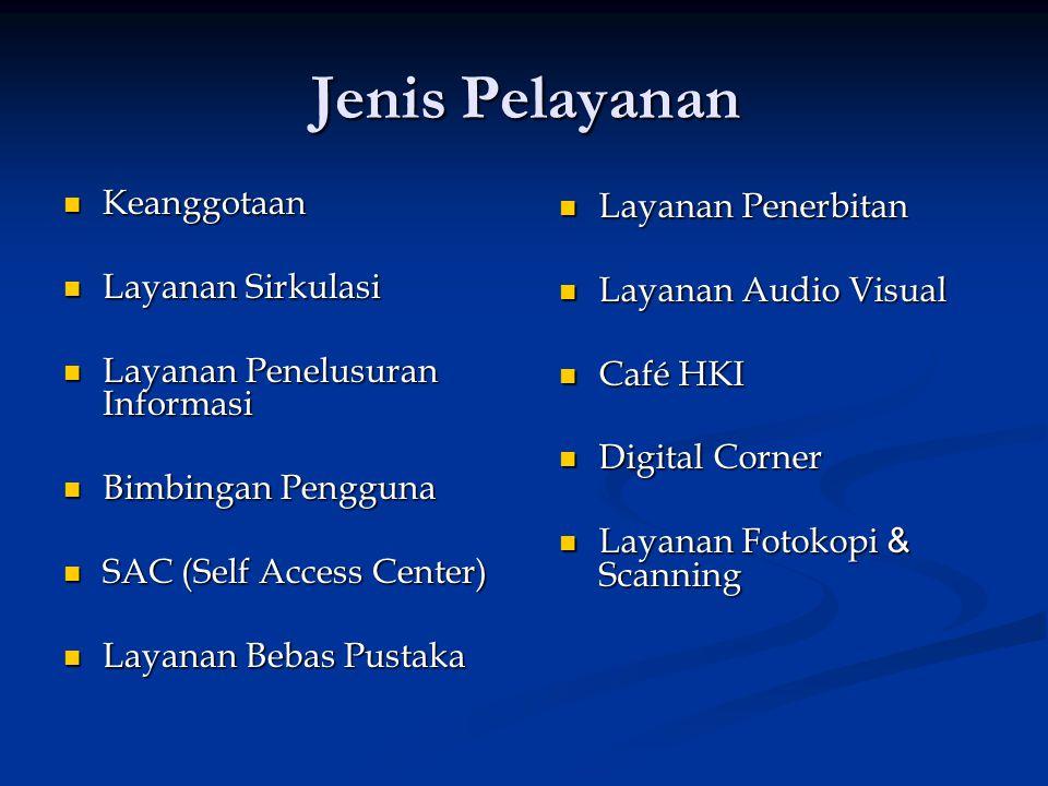 Jenis Pelayanan Keanggotaan Keanggotaan Layanan Sirkulasi Layanan Sirkulasi Layanan Penelusuran Informasi Layanan Penelusuran Informasi Bimbingan Pengguna Bimbingan Pengguna SAC (Self Access Center) SAC (Self Access Center) Layanan Bebas Pustaka Layanan Bebas Pustaka Layanan Penerbitan Layanan Audio Visual Café HKI Digital Corner Layanan Fotokopi & Scanning
