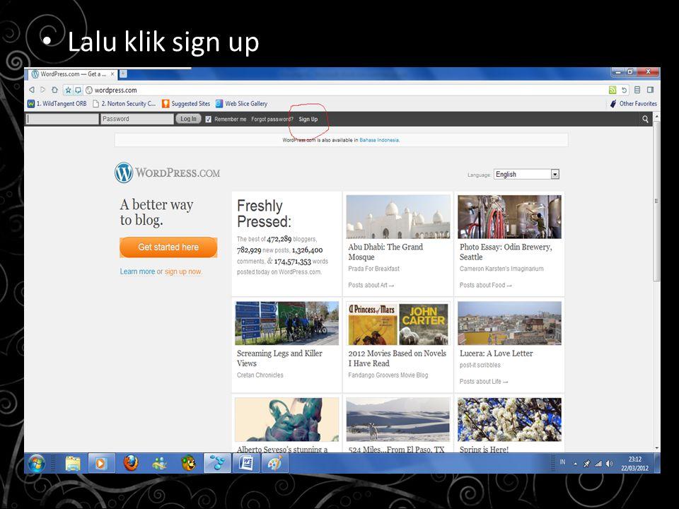 Lalu klik sign up