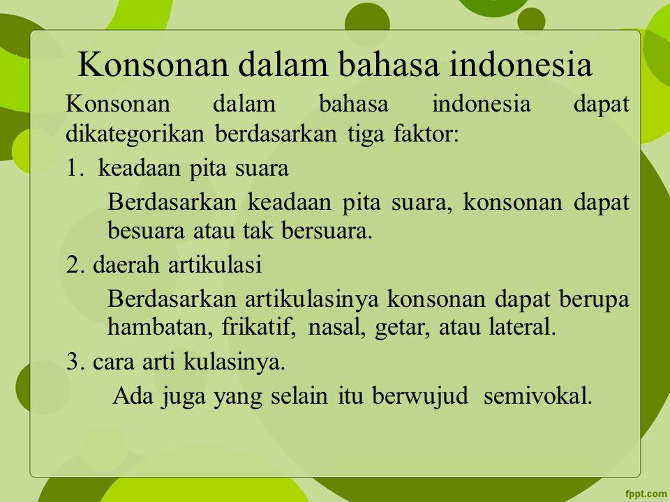 Konsonan dalam bahasa indonesia Konsonan dalam bahasa indonesia dapat dikategorikan berdasarkan tiga faktor: 1. keadaan pita suara Berdasarkan keadaan