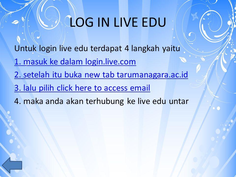 LOG IN LIVE EDU Untuk login live edu terdapat 4 langkah yaitu 1.