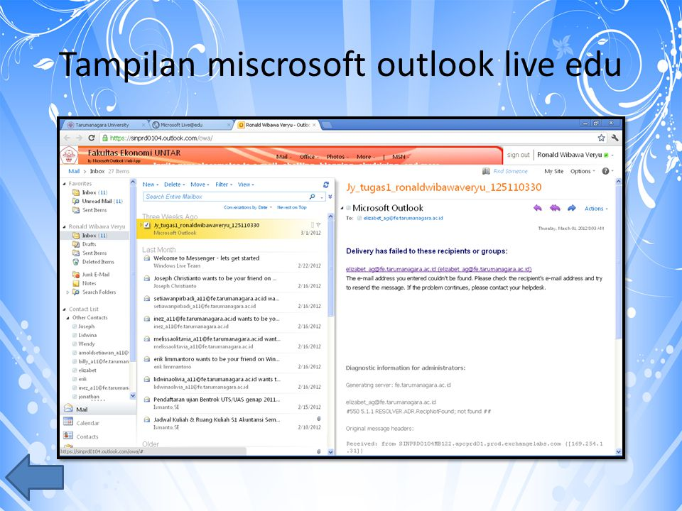 Tampilan miscrosoft outlook live edu