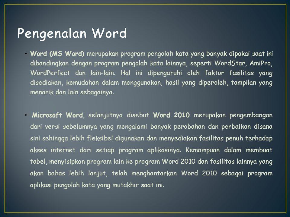 Word 2010 baru dapat dijalankan apabila system operasi windows telah kita aktifkan langkah - langkah memulai bekerja dengan Word 2010 sebagai berikut : Klik tombol Start yang ada pada batang taskbar.