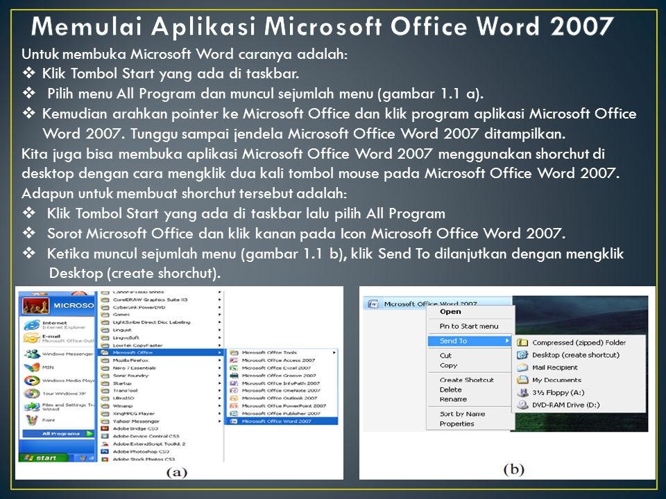 Untuk membuka Microsoft Word caranya adalah:  Klik Tombol Start yang ada di taskbar.  Pilih menu All Program dan muncul sejumlah menu (gambar 1.1 a)
