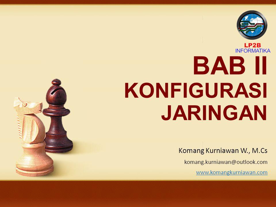 BAB II KONFIGURASI JARINGAN Komang Kurniawan W., M.Cs komang.kurniawan@outlook.com www.komangkurniawan.com Kinfigurasi TCP/IP