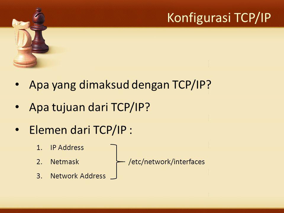 Konfigurasi TCP/IP Apa yang dimaksud dengan TCP/IP? Apa tujuan dari TCP/IP? Elemen dari TCP/IP : 1.IP Address 2.Netmask/etc/network/interfaces 3.Netwo