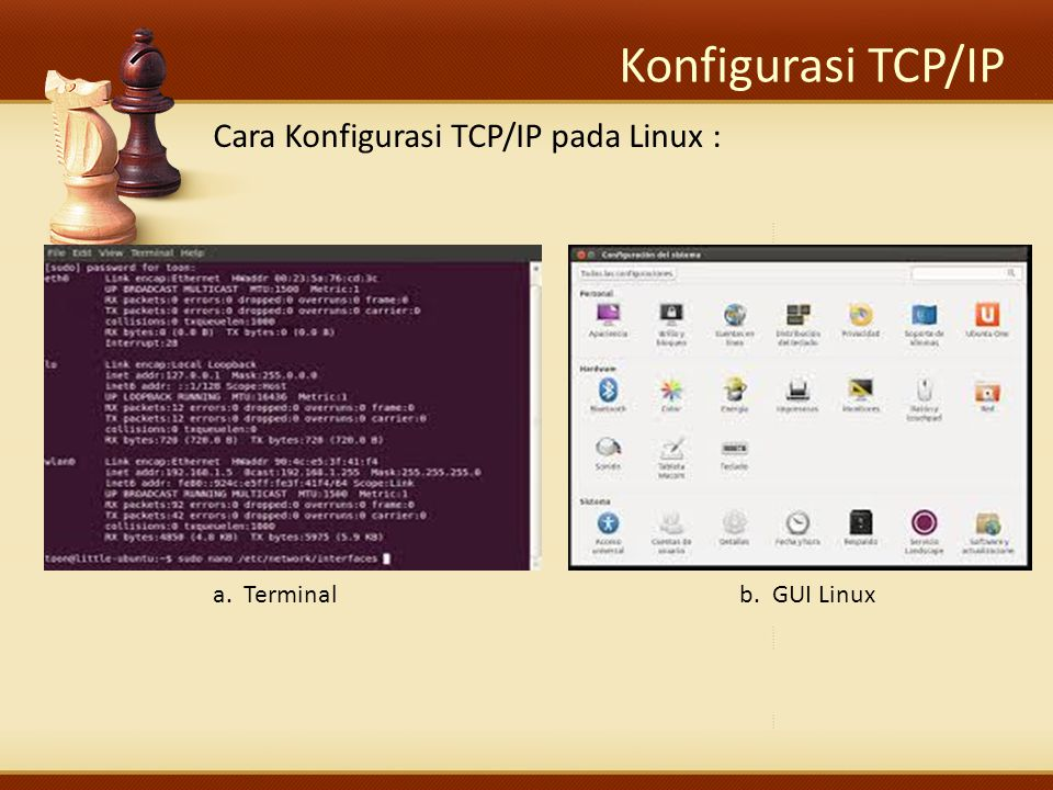 Konfigurasi TCP/IP Cara Konfigurasi TCP/IP pada Linux : a. Terminalb. GUI Linux