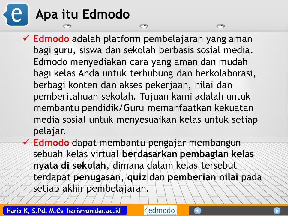 Haris K, S.Pd. M.Cs haris@unidar.ac.id Edmodo adalah platform pembelajaran yang aman bagi guru, siswa dan sekolah berbasis sosial media. Edmodo menyed