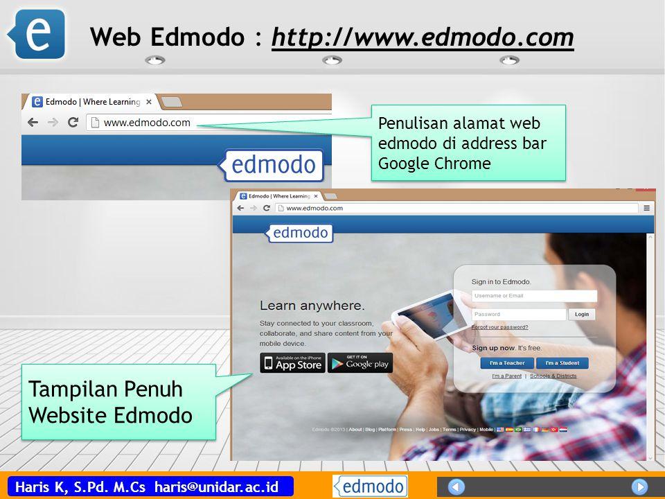 Haris K, S.Pd. M.Cs haris@unidar.ac.id Penulisan alamat web edmodo di address bar Google Chrome Tampilan Penuh Website Edmodo Web Edmodo : http://www.