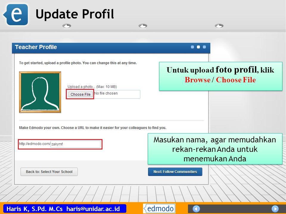Haris K, S.Pd. M.Cs haris@unidar.ac.id Update Profil Untuk upload foto profil, klik Browse / Choose File Untuk upload foto profil, klik Browse / Choos