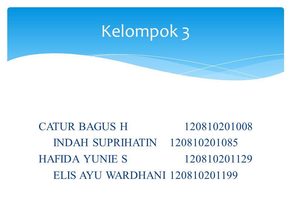 CATUR BAGUS H120810201008 INDAH SUPRIHATIN120810201085 HAFIDA YUNIE S120810201129 ELIS AYU WARDHANI120810201199 Kelompok 3