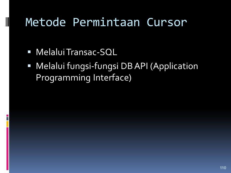 Metode Permintaan Cursor  Melalui Transac-SQL  Melalui fungsi-fungsi DB API (Application Programming Interface) 110