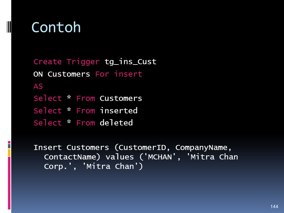 Contoh Create Trigger tg_ins_Cust ON Customers For insert AS Select * From Customers Select * From inserted Select * From deleted Insert Customers (CustomerID, CompanyName, ContactName) values ( MCHAN , Mitra Chan Corp. , Mitra Chan ) 144