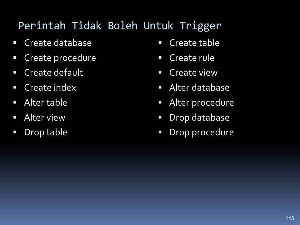 Perintah Tidak Boleh Untuk Trigger  Create database  Create procedure  Create default  Create index  Alter table  Alter view  Drop table  Create table  Create rule  Create view  Alter database  Alter procedure  Drop database  Drop procedure 145