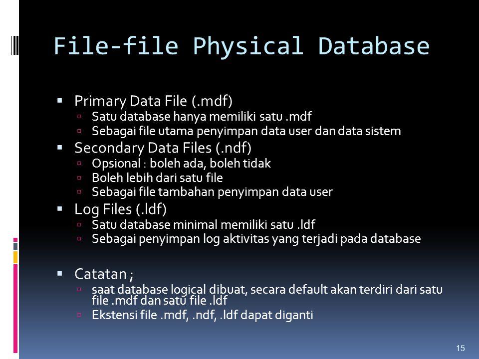 File-file Physical Database  Primary Data File (.mdf)  Satu database hanya memiliki satu.mdf  Sebagai file utama penyimpan data user dan data siste