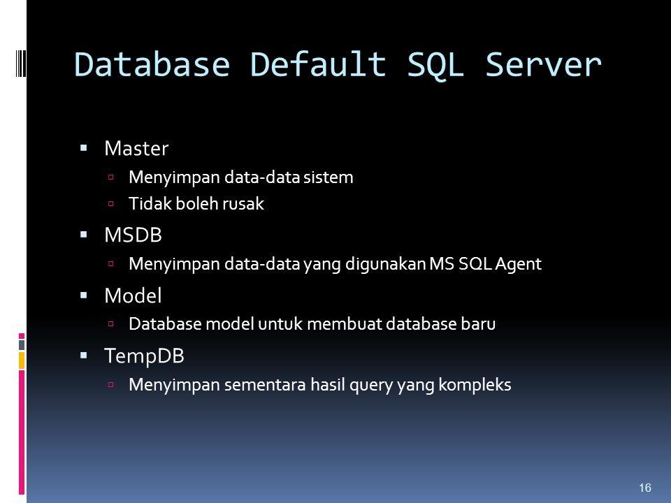 Database Default SQL Server  Master  Menyimpan data-data sistem  Tidak boleh rusak  MSDB  Menyimpan data-data yang digunakan MS SQL Agent  Model