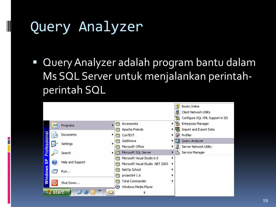 Query Analyzer  Query Analyzer adalah program bantu dalam Ms SQL Server untuk menjalankan perintah- perintah SQL 19