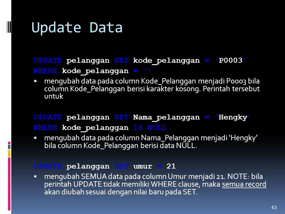 Update Data UPDATE pelanggan SET kode_pelanggan = 'P0003' WHERE kode_pelanggan = ''  mengubah data pada column Kode_Pelanggan menjadi P0003 bila colu