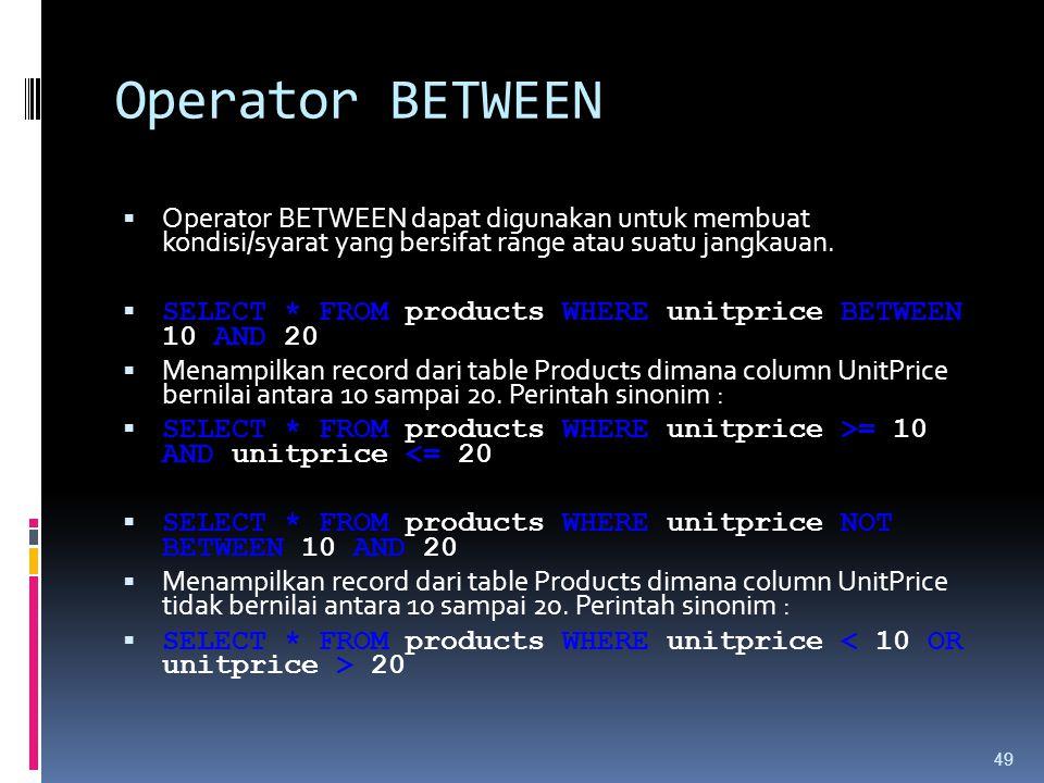 Operator BETWEEN  Operator BETWEEN dapat digunakan untuk membuat kondisi/syarat yang bersifat range atau suatu jangkauan.  SELECT * FROM products WH