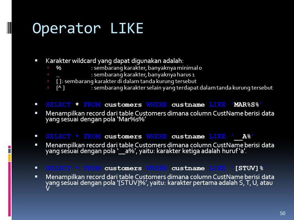 Operator LIKE  Karakter wildcard yang dapat digunakan adalah:  %: sembarang karakter, banyaknya minimal 0  _ : sembarang karakter, banyaknya harus