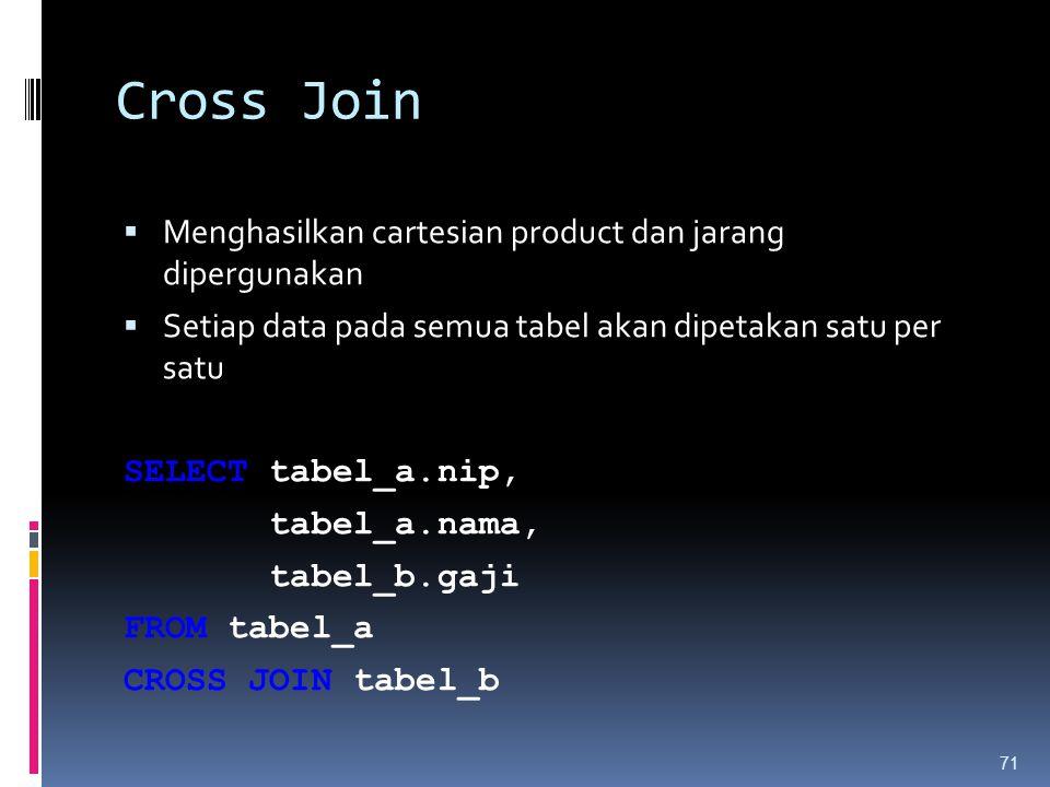 Cross Join  Menghasilkan cartesian product dan jarang dipergunakan  Setiap data pada semua tabel akan dipetakan satu per satu SELECT tabel_a.nip, ta