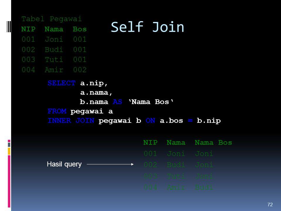 Self Join Tabel Pegawai NIP Nama Bos 001 Joni 001 002 Budi 001 003 Tuti 001 004 Amir 002 72 SELECT a.nip, a.nama, b.nama AS 'Nama Bos' FROM pegawai a