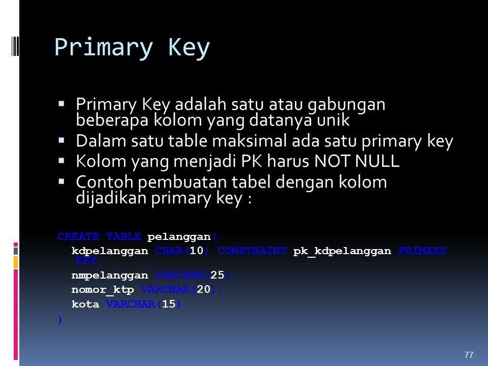 Primary Key  Primary Key adalah satu atau gabungan beberapa kolom yang datanya unik  Dalam satu table maksimal ada satu primary key  Kolom yang men