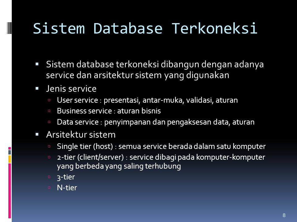 1-Tier (Client-Server) 9 User Interface Presentation service Application service Business service Data service
