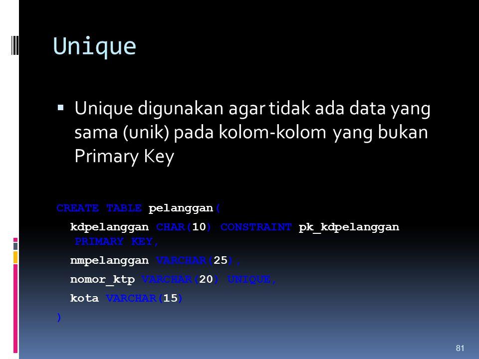 Unique  Unique digunakan agar tidak ada data yang sama (unik) pada kolom-kolom yang bukan Primary Key CREATE TABLE pelanggan( kdpelanggan CHAR(10) CO