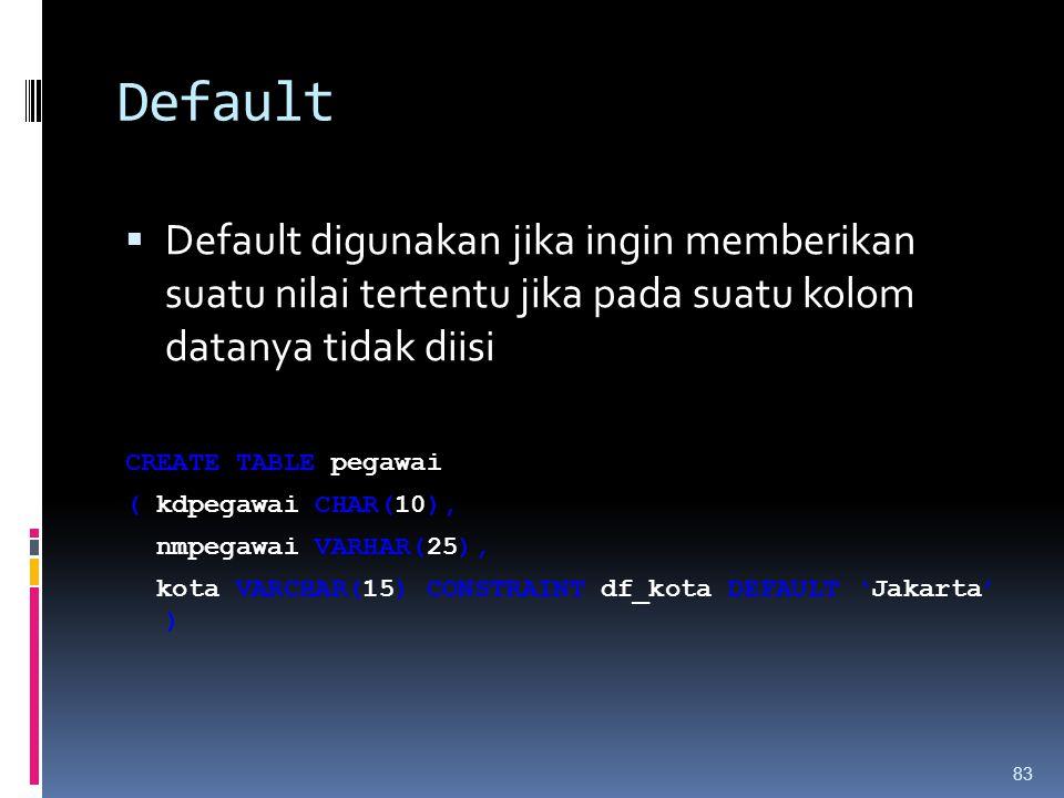 Default  Default digunakan jika ingin memberikan suatu nilai tertentu jika pada suatu kolom datanya tidak diisi CREATE TABLE pegawai ( kdpegawai CHAR