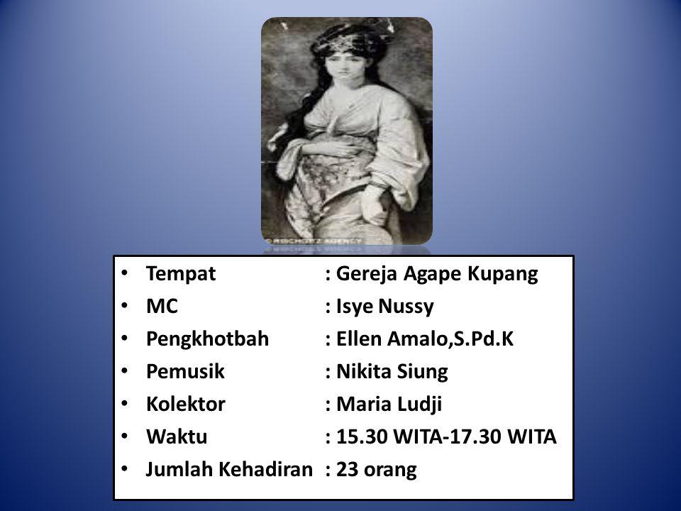 Tempat: Gereja Agape Kupang MC: Isye Nussy Pengkhotbah: Ellen Amalo,S.Pd.K Pemusik: Nikita Siung Kolektor: Maria Ludji Waktu: 15.30 WITA-17.30 WITA Ju