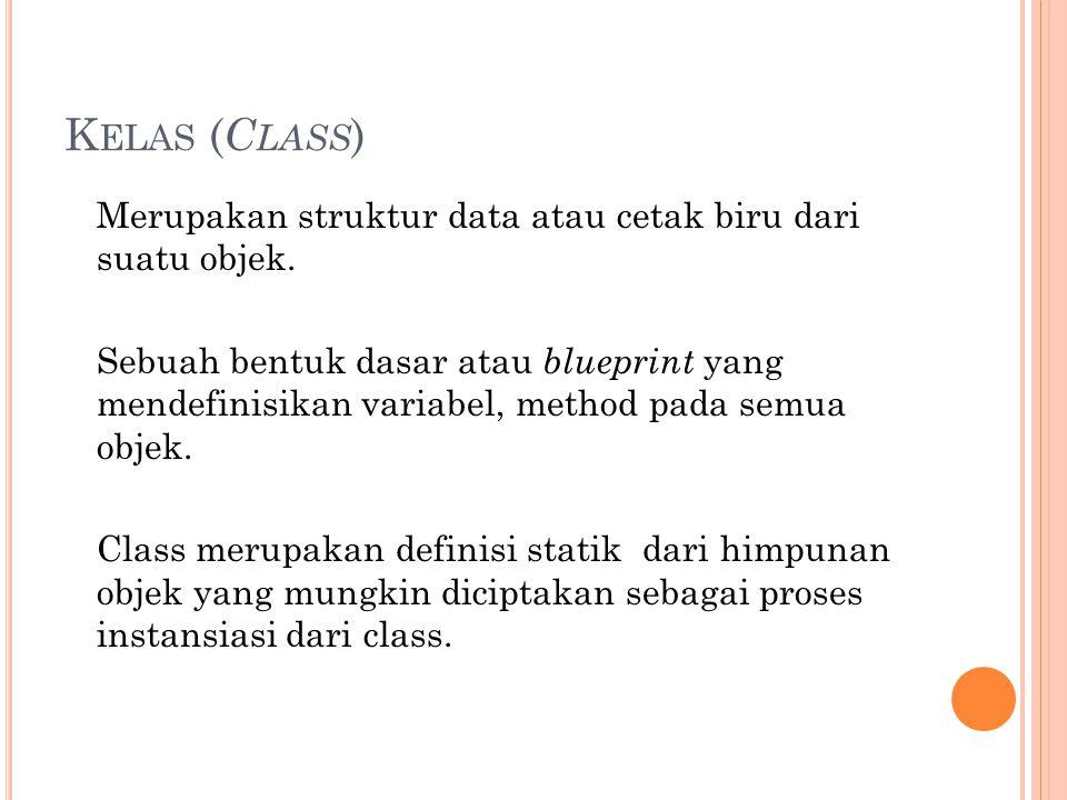C LASS... <?php /*Contoh kelas*/ Class Kendaraan { } /*akhir dari sebuah kelas*/ ?>