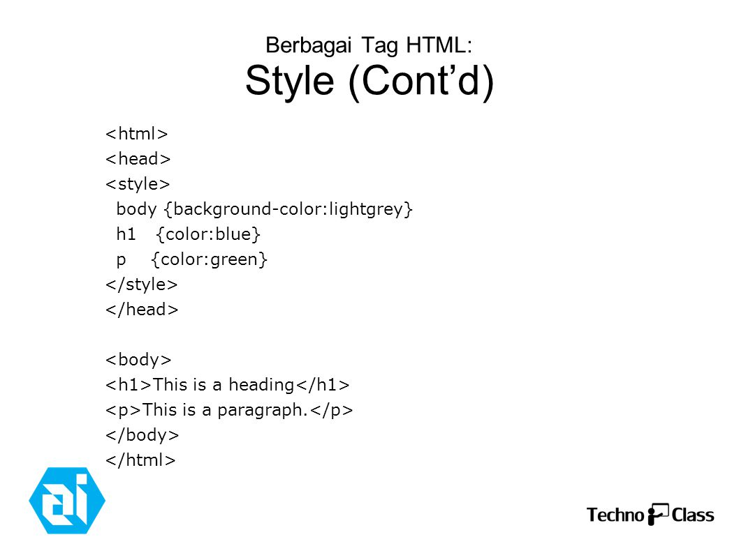 Berbagai Tag HTML: Style (Cont'd) body {background-color:lightgrey} h1 {color:blue} p {color:green} This is a heading This is a paragraph.