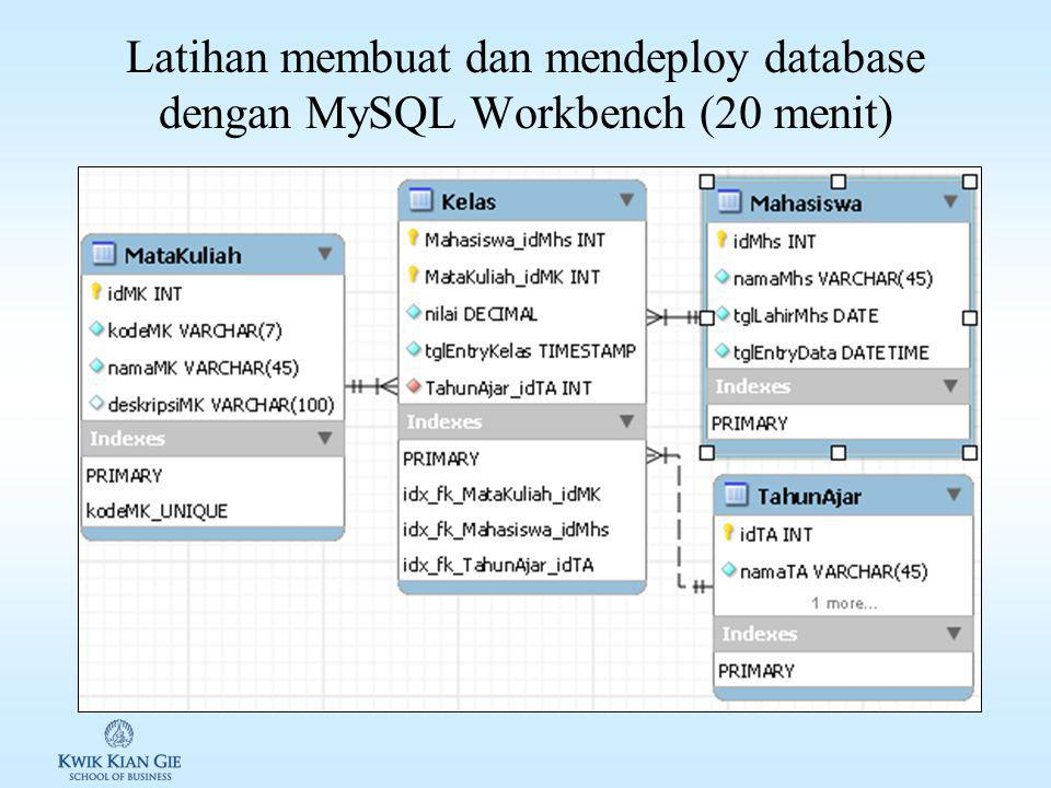 Mendeploy model database … (lanjutan) 4.Buka tab EERDiagram 5.Deploy database Database -> Forward Engineer… 6.Kemudian klik Next 7.Pilih opsi yang dip