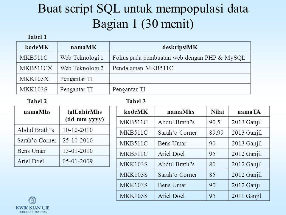 Latihan membuat dan mendeploy database dengan MySQL Workbench (20 menit)