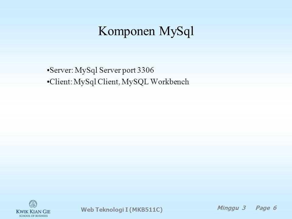 Komponen MySql Server: MySql Server port 3306 Client: MySql Client, MySQL Workbench Web Teknologi I (MKB511C) Minggu 3 Page 6