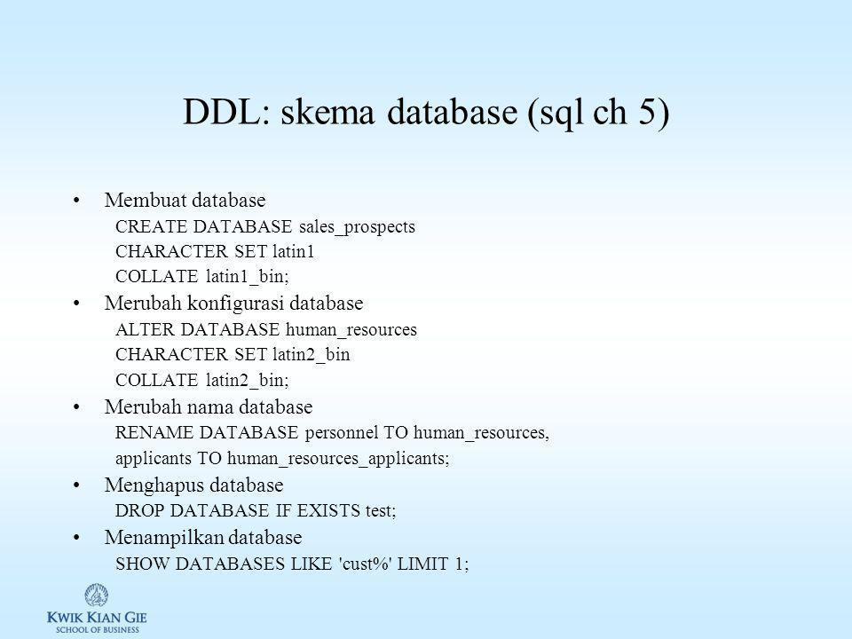 DDL: skema database (sql ch 5) Membuat database CREATE DATABASE sales_prospects CHARACTER SET latin1 COLLATE latin1_bin; Merubah konfigurasi database ALTER DATABASE human_resources CHARACTER SET latin2_bin COLLATE latin2_bin; Merubah nama database RENAME DATABASE personnel TO human_resources, applicants TO human_resources_applicants; Menghapus database DROP DATABASE IF EXISTS test; Menampilkan database SHOW DATABASES LIKE cust% LIMIT 1;