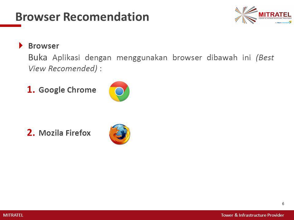 MITRATEL Tower & Infrastructure Provider 6 Browser Recomendation  Browser Buka Aplikasi dengan menggunakan browser dibawah ini (Best View Recomended)