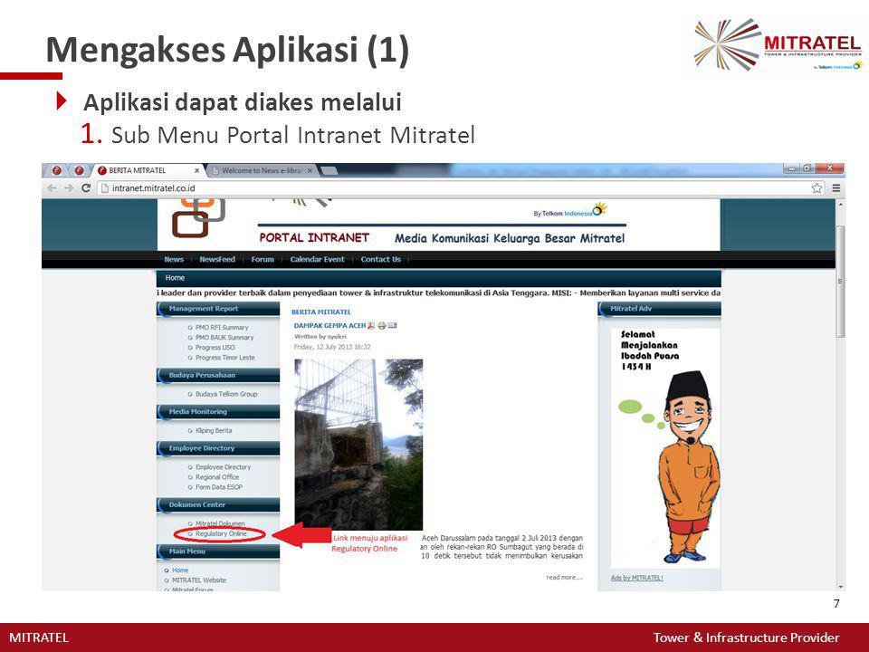 MITRATEL Tower & Infrastructure Provider 7 Mengakses Aplikasi (1)  Aplikasi dapat diakes melalui 1. Sub Menu Portal Intranet Mitratel