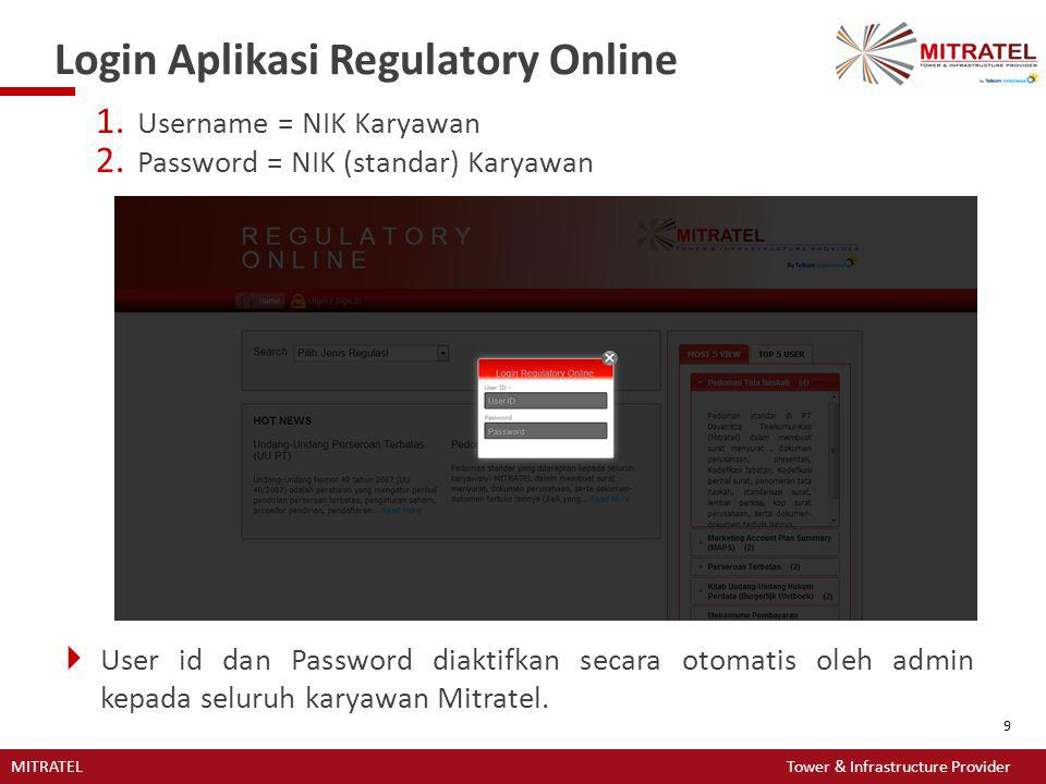 MITRATEL Tower & Infrastructure Provider 9 Login Aplikasi Regulatory Online 1. Username = NIK Karyawan 2. Password = NIK (standar) Karyawan  User id