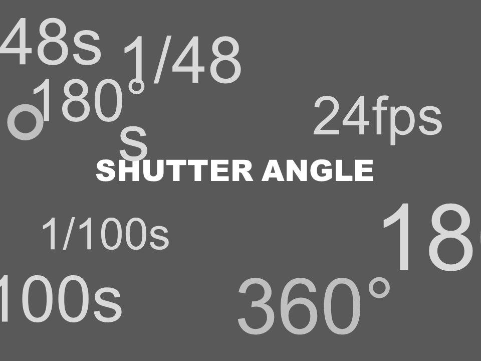 360° 180° 1/100s 24fps 1/48s SHUTTER ANGLE 360° 180° 1/100s 24fps 1/48 s