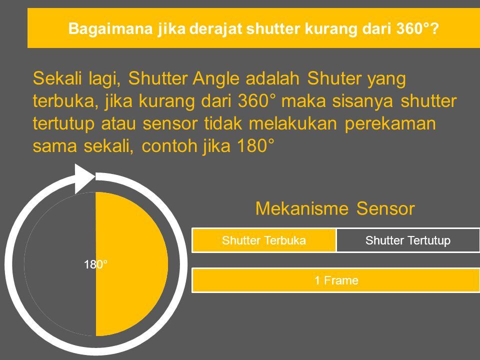 Dan seterusnya Bagaimana Shutter Angle Bekerja dengan/pada Sensor 180° Frame 1 Frame …dst Frame 4 Frame 3 Frame 2 Timeline pada Sensor Shutter Angle (Warna Hijau adalah Shutter yang terbuka) Final Output