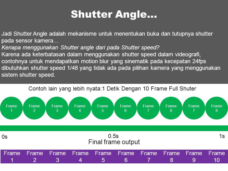 Contoh lain yang lebih nyata:1 Detik Dengan 10 Frame Full Shuter 0s 1s0.5s Final frame output Shutter Angle… Frame 1 Frame 2 Frame 3 Frame 4 Frame 5 F