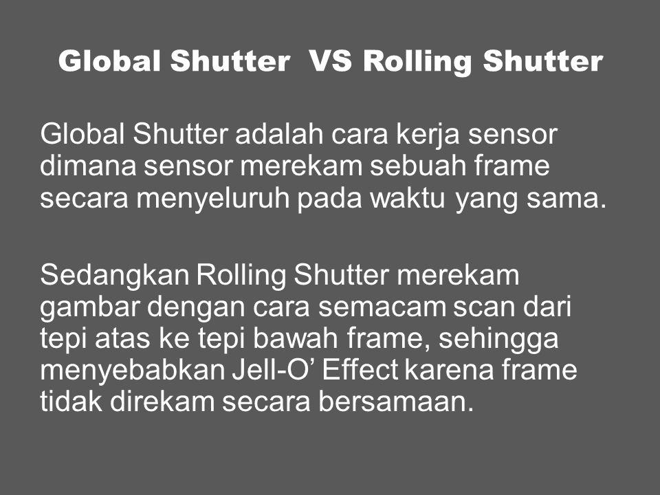 Frame 1 Frame …dst Frame 4 Frame 3 Frame 2 45° Timeline pada Sensor Shutter Angle (Warna Hijau adalah Shutter yang terbuka) Final output pada Rolling Shutter Final output pada Global Shutter Frame 1 Frame …dst Frame 4 Frame 3 Frame 2 Rolling Shutter vs Global Shutter