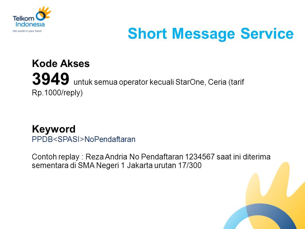 Short Message Service Kode Akses 3949 untuk semua operator kecuali StarOne, Ceria (tarif Rp.1000/reply) Keyword PPDB NoPendaftaran Contoh replay : Reza Andria No Pendaftaran 1234567 saat ini diterima sementara di SMA Negeri 1 Jakarta urutan 17/300