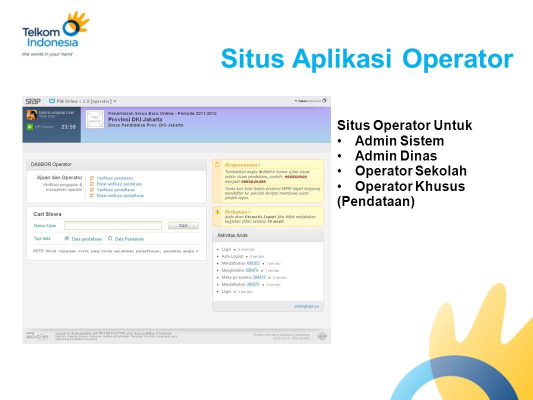 Situs Aplikasi Operator Situs Operator Untuk Admin Sistem Admin Dinas Operator Sekolah Operator Khusus (Pendataan)