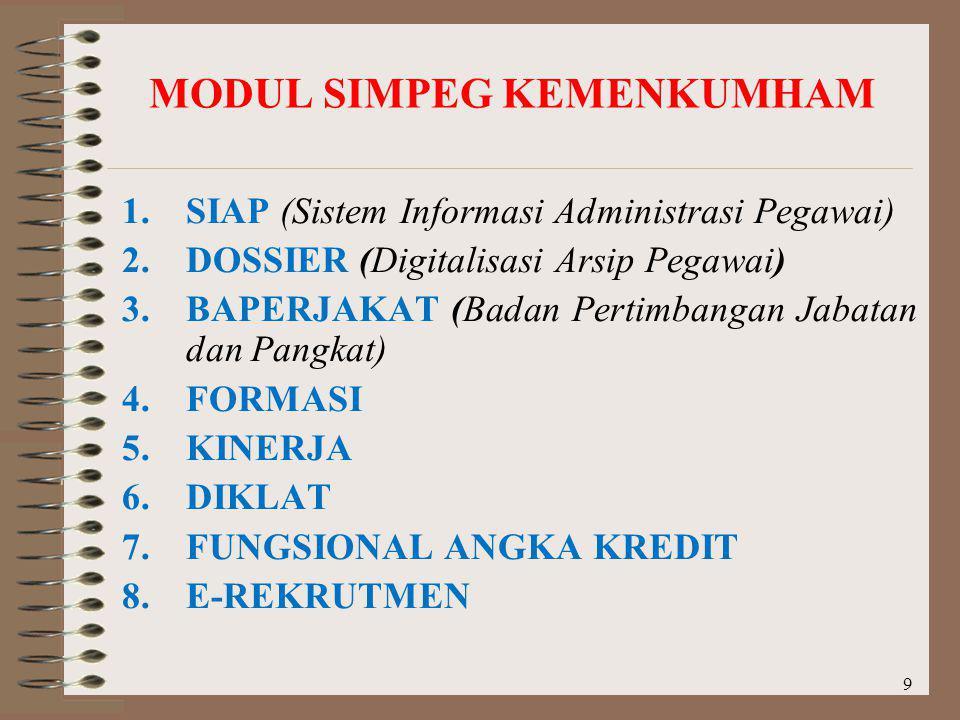 MODUL SIMPEG KEMENKUMHAM 9 1.SIAP (Sistem Informasi Administrasi Pegawai) 2.DOSSIER (Digitalisasi Arsip Pegawai) 3.BAPERJAKAT (Badan Pertimbangan Jaba